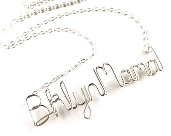 Brooklyn Mama Necklace. Sterling Silver New Mother Custom Necklace. Mother's Day Necklace