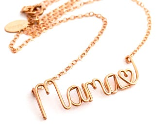 Mama Heart Name Necklace. 14k Rose Gold Filled Mother's Day Necklace. Push Present. New Mom Jewelry. Aziza Jewelry