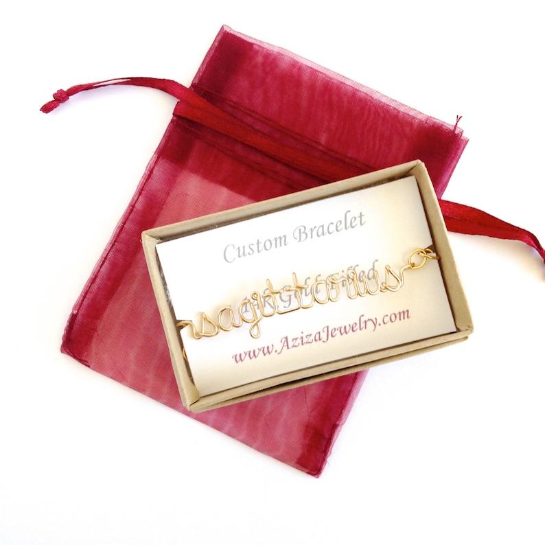 Zodiac Bracelet Astrology gold bracelet Aziza Jewelry. Virgo Gold Bracelet 14k Gold filled Word Bracelet