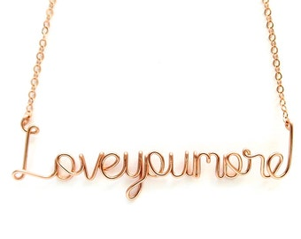 Rose Gold Love you more necklace. Pink Gold Love Necklace. 14k Gold Filled Wire Love Necklace. Valentines Day Necklace