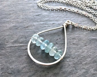 Ocean Blue Aquamarine Gemstone Pendant. OOAK Light Blue Natural Raw Genuine Aquamarine Sterling Silver Gemstone Necklace