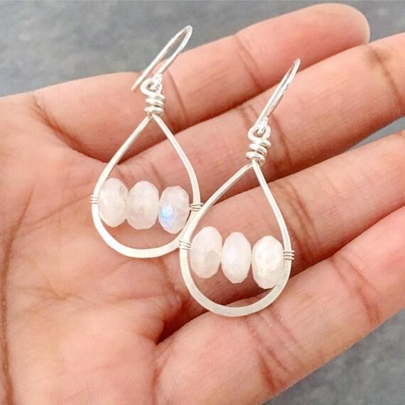 23419ebcae48c Rainbow Moonstone Gemstone Earrings. Small Sterling Silver Genuine White  Moonstone Gemstones. Teardrop Hoop Earrings.