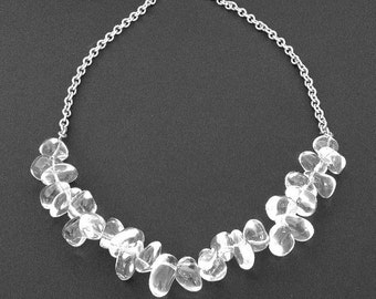 Crystal Statement Necklace. Polished Crystals and Sterling Silver. Clear Crystal Quartz Classy Dressy Bib Statement Necklace