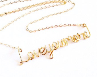Love You More Necklace. Gold Love you more necklace. Love Necklace. Valentines Day Gift Necklace