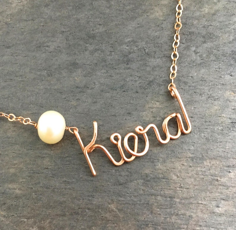 Custom Rose Gold Name Necklace with White Freshwater Pearl. image 0