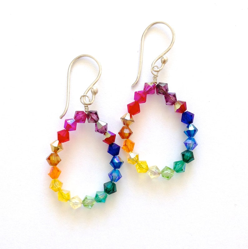 3cd3822ef Rainbow Earrings. Swarovski Crystal Rainbow Hoop Earrings. | Etsy