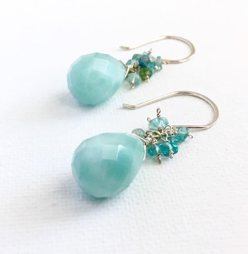 Blue Amazonite earrings with blue tourmaline aquamarine and image 0