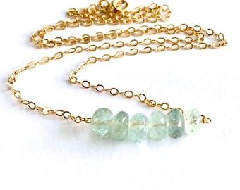 Light Blue Green Aquamarine Gold Necklace. Genuine Aquamarine Gemstone Gold Bar Necklace