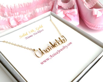 14k Solid Gold Baby Name Necklace. Custom Gold Girls Name Necklace. Baby Name Necklace. 14k Gold Infant Newborn Kids Baby Girl Necklace