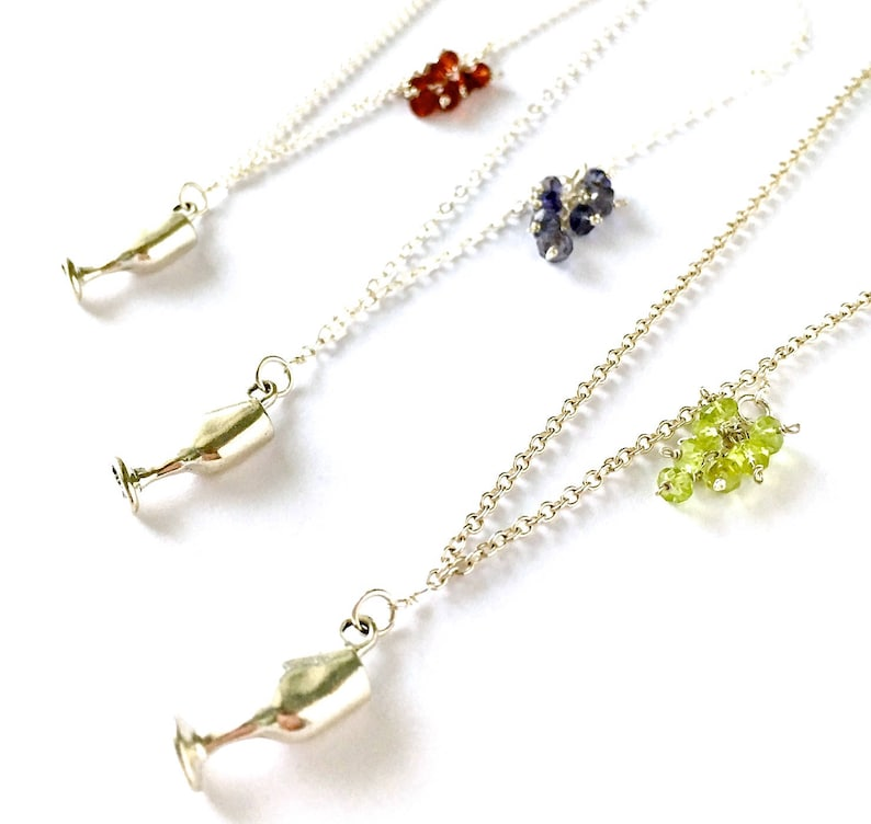 Wine Lovers Jewelry Wine Jewelry Wine Glass Necklace Sterling Silver Wine Goblet with Peridot Grape Cluster Wine Necklace Wine Gift