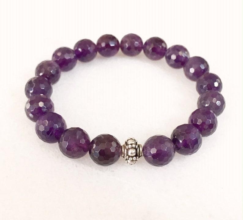 Amethyst Bracelet. Genuine Purple Amethyst Gemstone Bracelet. image 0
