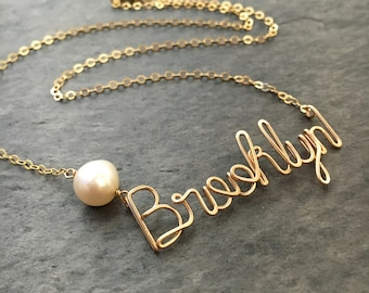 Custom Gold Name Necklace with Off White Freshwater Pearl. Personalized Pearl Name Necklace in 14k Gold or Gold Filled. Script Name Brooklyn