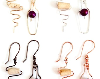 Wine Bottle and Cork Screw Earrings. Wine Lovers Earrings with Grape and Real Cork.