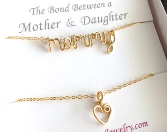 Matching Mother Daughter Necklaces. Gold Mommy Necklace and Heart Necklace Set.
