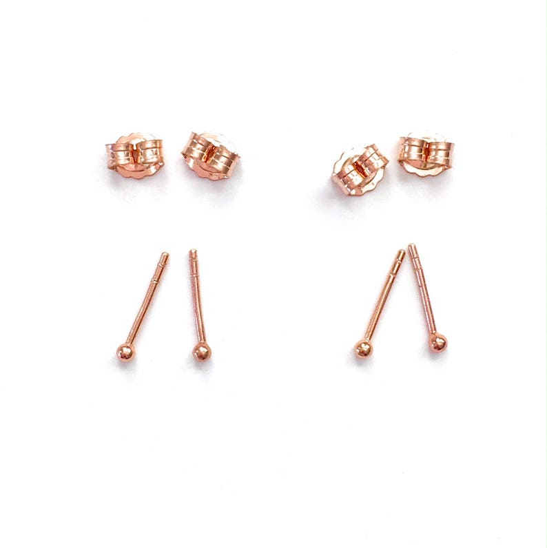 151258384 Two Pairs of Rose Gold Simple Round Dot Stud Earrings. Plain   Etsy