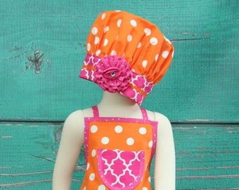 Kids Apron, Girls Apron and Chef's Hat, Little Girls Apron, Toddler Apron, Girls Apron Set, Polka Dot Apron, Childrens Aprons, Child's Apron