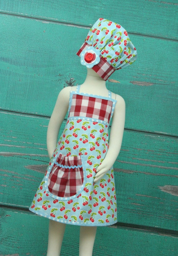 items similar to kids party apron blue cherry size 7 10 ready to ship on etsy. Black Bedroom Furniture Sets. Home Design Ideas