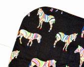 DPN Crochet Hook Organizer  Rainbow Zebra DPN Storage Case Pencil case  gift for knitter artist hooker animal lover