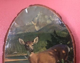 Vintage Yellowstone Park Souvenir Wooden Deer Picture