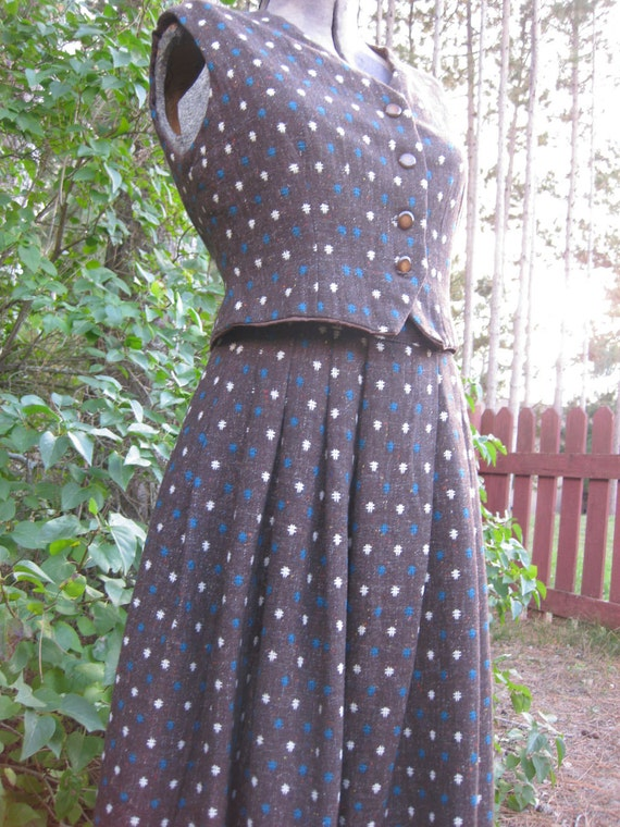 Vintage Fitted Vest with Matching Full Skirt