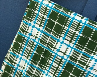 Plaid Cotton Fabric-olive green and turquoise-over 4 yards