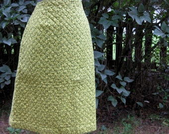 Bright Green QUILTED Calico Pencil Skirt