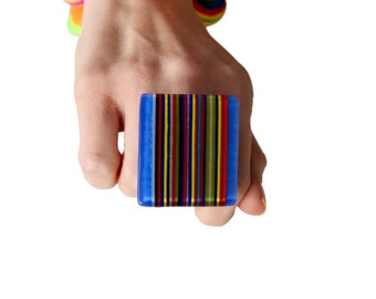 Big ring, Geometric Jewelry, Glass Ring, wearable art, striped ring, statement ring, fashion ring, large ring, oversize ring, Studioleanne