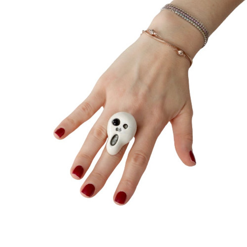 Statement Ring Halloween ring Ghost Ring Studioleanne adjustable ring Unique ring Ceramic ring Skull Ring handmade ring gothic ring