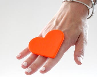 Neon Heart Ring, Gift for Her, Valentines Day, Ceramic Ring,  statement ring, bold ring, large ring adjustable ring, neon jewelry, boho ring