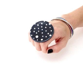 Large ring, Statement Jewelry, Big Ceramic Ring  - Fashion ring, large ring, oversize ring, handmade ring, polka dot statement ring