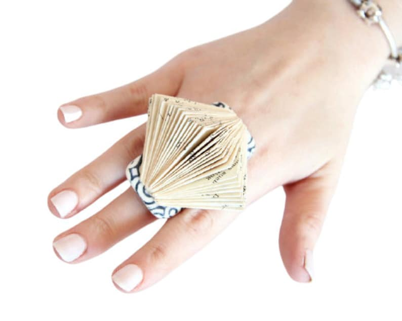 Statement Ring  Ceramic and Paper Art Ring big ring summer celebrations book sculpture ring handmade ring