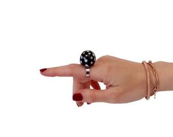 Polka Dot Statement Ring Ceramic Ring - big ring, black and white, ceramic jewelry, retro ring, handmade ring, StudioLeanne, cocktail ring