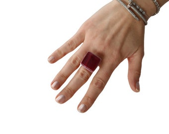 Unique jewelry, maroon and pink ring, statement ring, fused glass ring - statement jewelry, Fall fashion, fashion jewelry, gift for her.