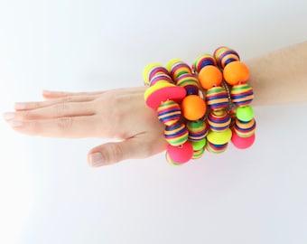 Summer Fashion Jewelry, Beaded Bracelet, Ceramic Jewelry, Neon Jewelry  -  big bracelet, ceramic bangle, StudioLeanne, statement jewelry