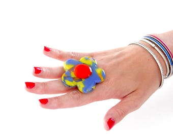 Glass ring, Boho Jewelry, Statement Ring - fashion ring, fused glass, Spring fashion, hippy ring, flower ring, gift for her, unique ring