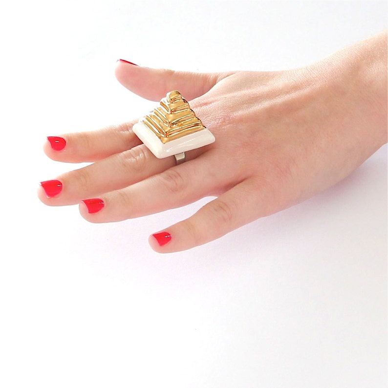 Gold Pyramid Ring  14k gold  Mothers Day cocktail ring fashion ring Ceramic Ring handmade ring ceramic jewelry statement ring