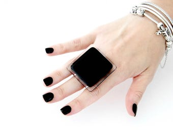 Large Ring Gift Idea for Her -  black ring, classic ring, New Year fashion, big ring, fused glass ring, handmade statement cocktail ring