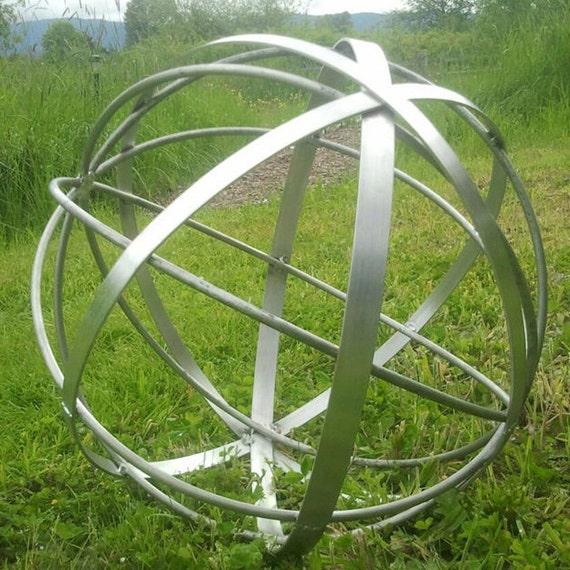 Bon Stainless Steel Metal Garden Art Sphere Handmade 22 | Etsy