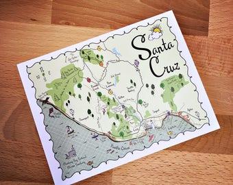 Santa Cruz Map Full Color Note Card