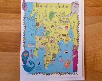 Mumbai Map Full Color Note Card