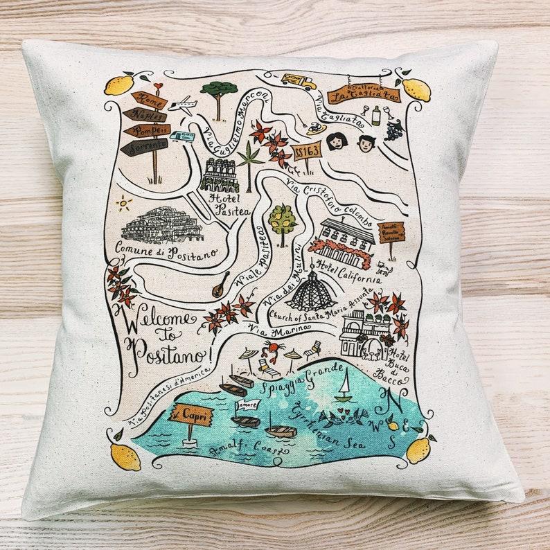 Italy Amalfi Coast Map Square Pillow Positano