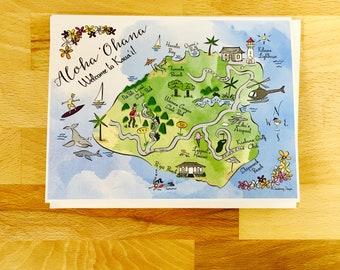 Kaua'i Map Full Color Note Card