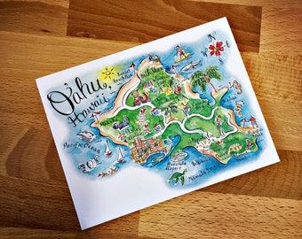 Oahu, Hawaii  Map Full Color Note Card
