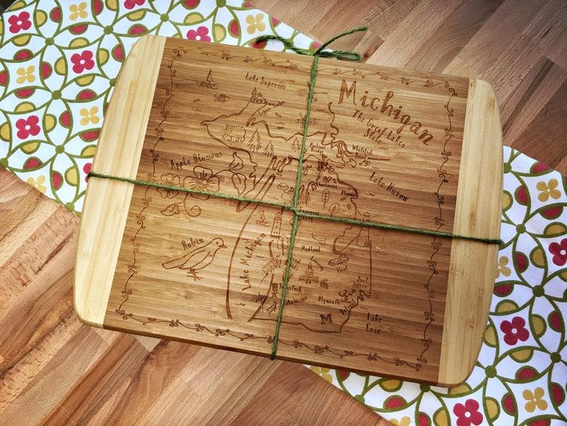 Michigan Large Bamboo Cutting Board