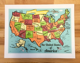 United States Map Full Color Note Card