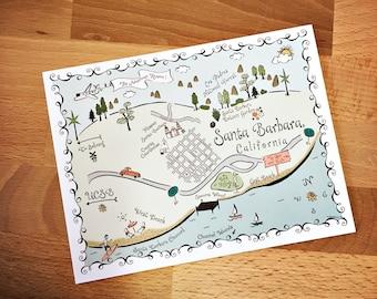 Santa Barbara Map Full Color Note Card
