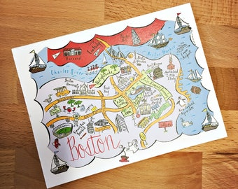 Boston City Map Full Color Note Card