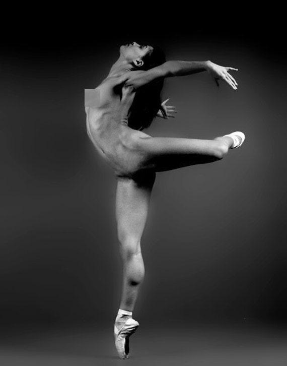 Nude Ballerina Black And White Etsy