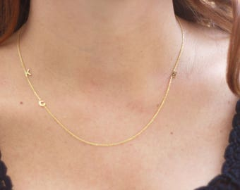 Tiny letter necklace   Etsy