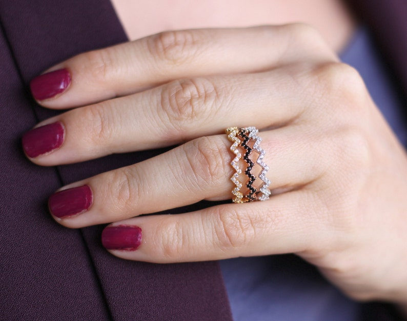 Stackable Gold Zig Zag Ring  Silver  Zig Zag Ring with CZ   Micro Pave Diamond Ring  Thin Gold Ring